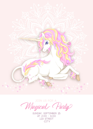 Template for invitation, greeting card banner with cute, kawaii unicorn with multi-colored mane, glitter, mandala pattern and place for text. Banco de Imagens - 110189864
