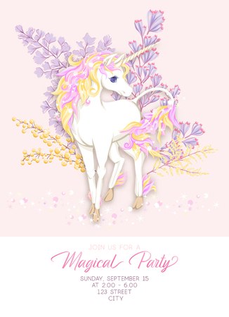 Template for invitation, greeting card banner with cute, kawaii unicorn with multi-colored mane, glitter, magic flowers and place for text. Banco de Imagens - 110189865
