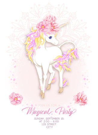 Template for invitation, greeting card banner with cute, kawaii unicorn with multi-colored mane, glitter, magic flowers and place for text.