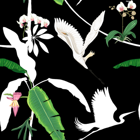 Seamless pattern, background. with tropical plants and flowers with white orchid and tropical birds. Colored and silhouette design. Vector illustration. Isolated on black background.