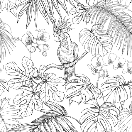 Seamless pattern, background. with tropical plants and flowers with white orchid and tropical birds. Graphic drawing, engraving style. vector illustration. Black and white.