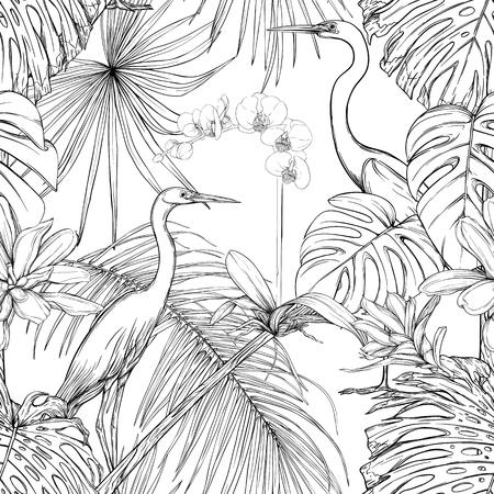 Modello senza cuciture, sfondo. con piante e fiori tropicali con orchidee bianche e uccelli tropicali. Disegno grafico, stile di incisione. illustrazione vettoriale. Bianco e nero. Vettoriali