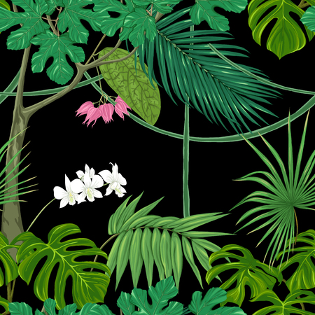 Tropical plants and flowers. Seamless pattern, background. Vector illustration. Isolated on black background.