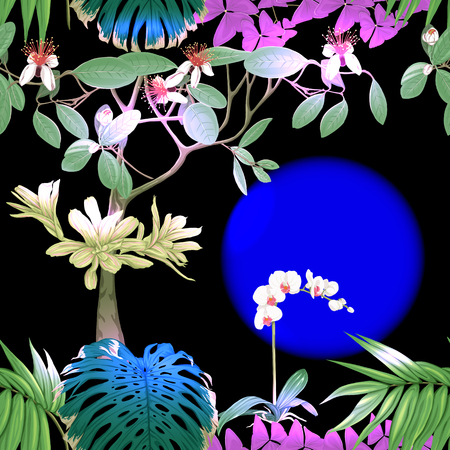 Tropical plants and white orchid flowers. Seamless pattern, background. Colored vector illustration in neon, fluorescent colors Stock Illustratie