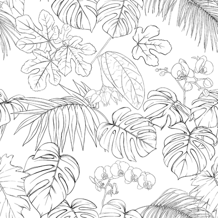 Tropical plants and white orchid flowers. Seamless pattern, background. Outline drawing vector illustration. Isolated on white background.