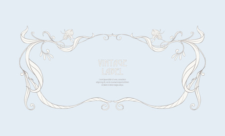 Frame, border in art nouveau style Isolated on white background.. Label for products or cosmetics. Vintage, old, retro style. Stock vector illustration. Çizim