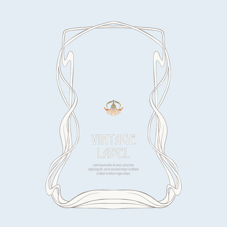 Frame, border in art nouveau style Isolated on white background.. Label for products or cosmetics. Vintage, old, retro style. Stock vector illustration.  イラスト・ベクター素材