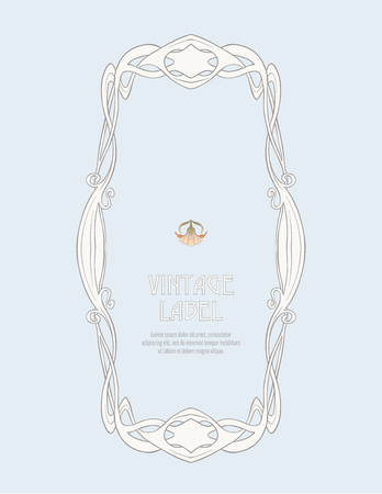 Frame, border in art nouveau style Isolated on white background.. Label for products or cosmetics. Vintage, old, retro style. Stock vector illustration. Illusztráció