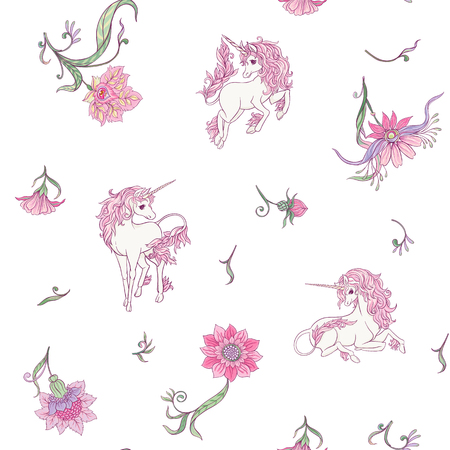 Seamless pattern, background with unicorn and vintage, fantsatic flowers In art nouveau style, vintage, old, retro style. Vector illustration. Isolated on white background.
