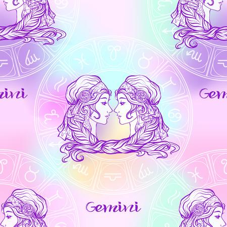 Naadloze patroon met symbolen van een horoscoop, tekens van de dierenriem Vector Illustratie