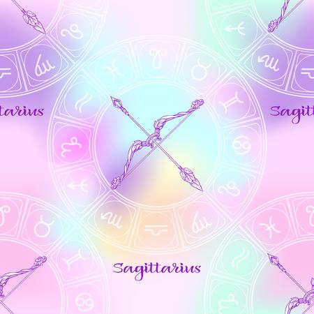 Patrón sin fisuras con símbolos de un horóscopo, signos del zodíaco