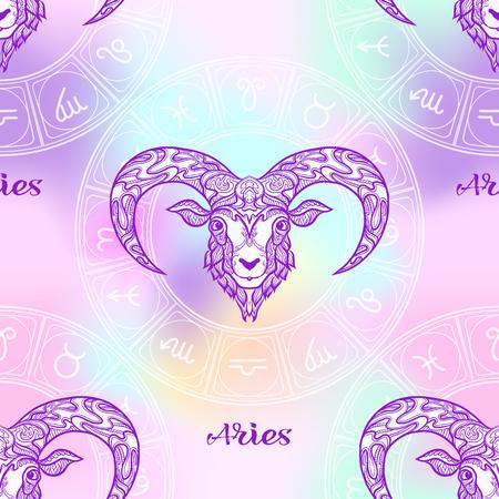 Wzór z symbolami horoskopu, znaki zodiaku Ilustracje wektorowe