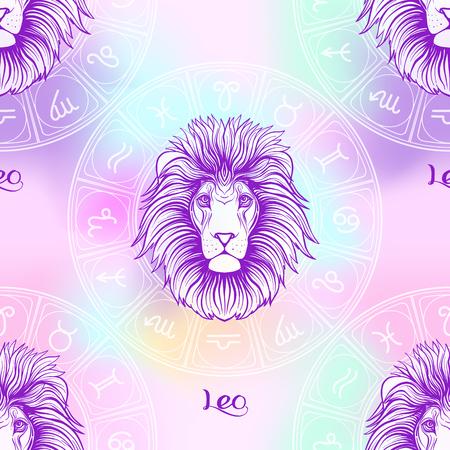 Wzór z symbolami horoskopu, znaki zodiaku