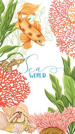 Karta morska ze złotą rybką, koralami i muszlami.