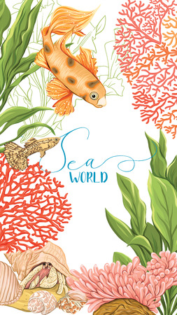 Sea card with gold fish, corals and shells.
