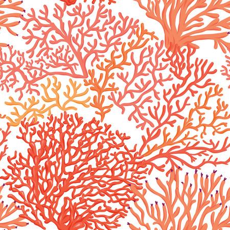 Patrón sin fisuras del mundo marino, fondo. Ilustración vectorial de stock.