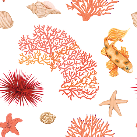 Sea world seamless pattern, background. Stock vector illustration.