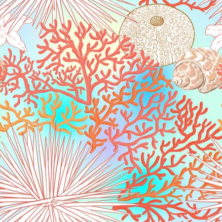 Modèle sans couture du monde de la mer, arrière-plan. Illustration vectorielle stock.