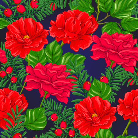 Floral seamless pattern, background with spring flowers on dark blue background. Vector illustration without gradients and transparency.