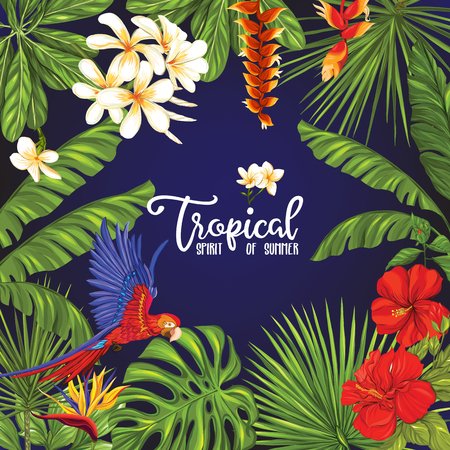 Template of poster, banner, postcard with tropical flowers and plants and parrot bird on black background. Stock vector illustration. Stock Illustratie