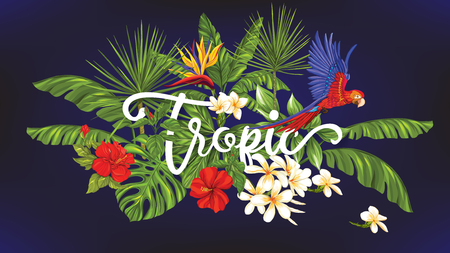 Template of poster, banner, postcard with tropical flowers and plants and parrot bird on black background. Stock vector illustration. 矢量图像