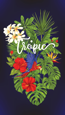 Template of poster, banner, postcard with tropical flowers and plants and parrot bird on black background. Stock vector illustration. Illustration