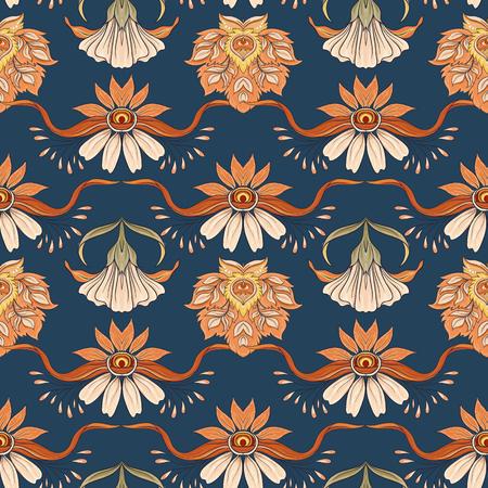 Patrón floral transparente, fondo en estilo art nouveau, estilo vintage, antiguo, retro. Ilustración de vector. Sobre fondo azul denim.