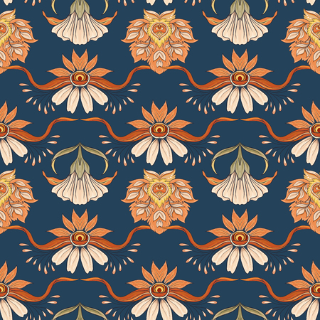 Floral seamless pattern, background  In art nouveau style, vintage, old, retro style. Vector illustration. On denim blue background.