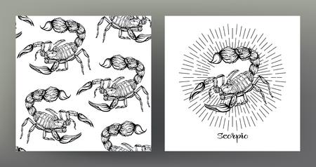 Escorpión. Conjunto de ilustración de signo del zodíaco en el patrón de símbolo de geometría sagrada y patrón transparente con este signo. Gráficos en blanco y negro. Ilustración vectorial de stock.