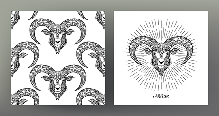 Aries, sheep, ram. Set of Zodiac sign illustration on the sacred geometry symbol pattern and seamless pattern with this sign. Black-and-white graphics. Stock vector illustration.