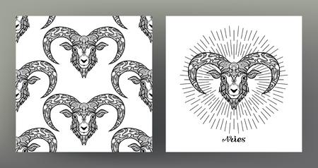 Baran, owca, baran. Zestaw ilustracji znak zodiaku na wzór symbolu świętej geometrii i wzór z tym znakiem. Grafika czarno-biała. Stockowa ilustracja wektorowa.