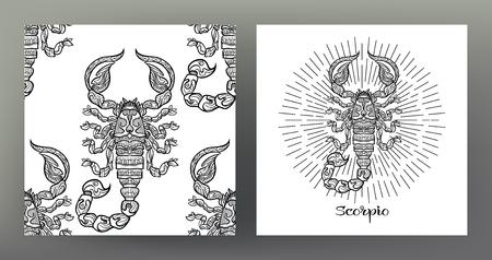 Skorpion. Zestaw ilustracji znak zodiaku na wzór symbolu świętej geometrii i wzór z tym znakiem. Grafika czarno-biała. Stockowa ilustracja wektorowa. Ilustracje wektorowe