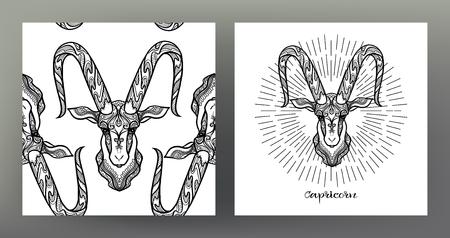 Capricornio, cabra. Conjunto de ilustración de signo del zodíaco en el patrón de símbolo de geometría sagrada y patrón transparente con este signo. Gráficos en blanco y negro. Ilustración vectorial de stock. Ilustración de vector