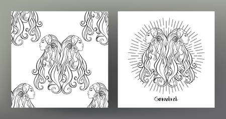 Gemini, twins, girls. Set of Zodiac sign illustration on the sacred geometry symbol pattern and seamless pattern with this sign. Black-and-white graphics. Stock vector illustration. Illustration