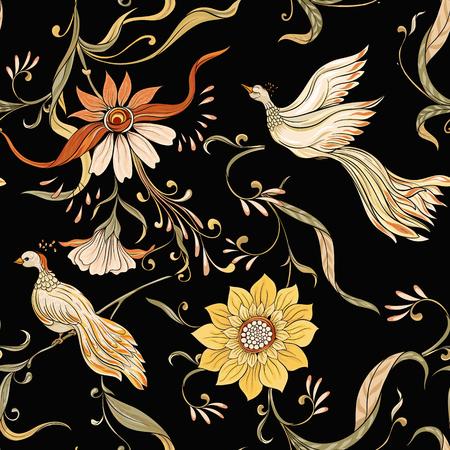 Vintage flores y pájaros de patrones sin fisuras, fondo. En estilo art nouveau, estilo vintage, antiguo, retro. Ilustración de vector. Sobre fondo negro. Ilustración de vector