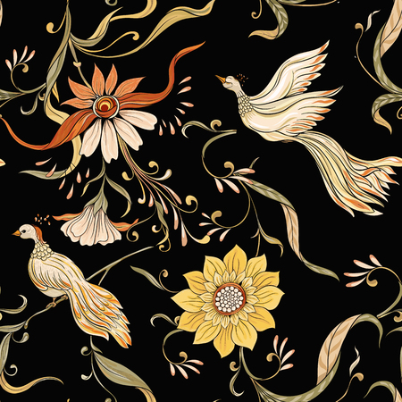 Vintage flowers and birds seamless pattern, background. In art nouveau style, vintage, old, retro style. Vector illustration. On dlack background.