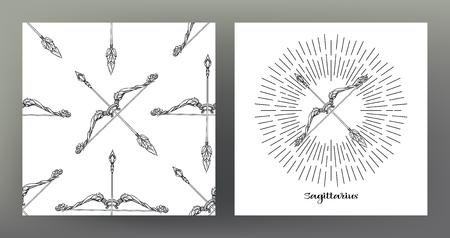 Sagitario, flechas de arco. Conjunto de ilustración de signo del zodíaco en el patrón de símbolo de geometría sagrada y patrón transparente con este signo. Gráficos en blanco y negro. Ilustración vectorial de stock.