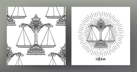 Libra, weigher. Set of Zodiac sign illustration on the sacred geometry symbol pattern and seamless pattern with this sign. Black-and-white graphics. Stock vector illustration.