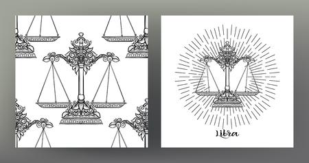 Waage, Waage. Satz Sternzeichenillustration auf dem heiligen Geometriesymbolmuster und nahtlosem Muster mit diesem Zeichen. Schwarzweißgrafiken. Stock Vektor-Illustration.