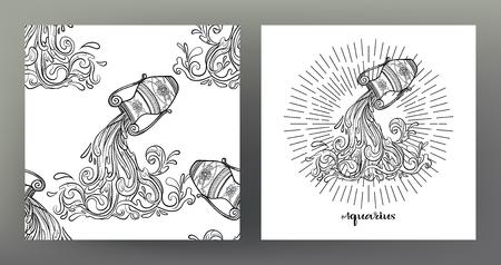 Acuario. Conjunto de ilustración de signo del zodíaco en el patrón de símbolo de geometría sagrada y patrón transparente con este signo. Gráficos en blanco y negro. Ilustración vectorial de stock.