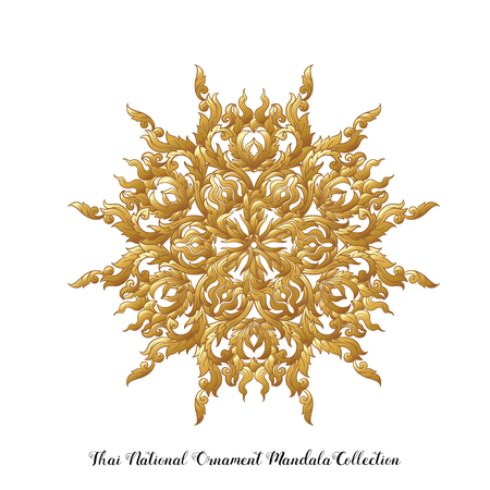 Gold mandala of traditional Thai ornament. Stock vector illustration. Illustration