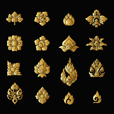 Set of gold elements of traditional Thai ornament. Stock vector illustration.