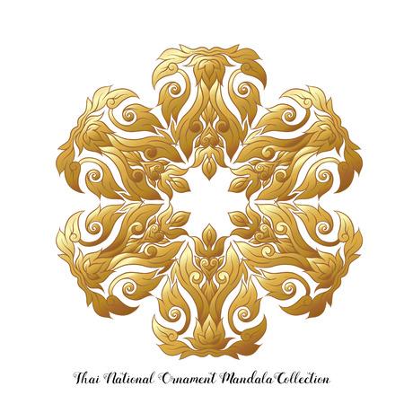 Gold mandala of traditional Thai ornament. Stock vector illustration. Illustration