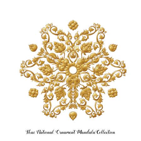 Gold mandala of traditional Thai ornament. Stock vector illustration. Ilustração
