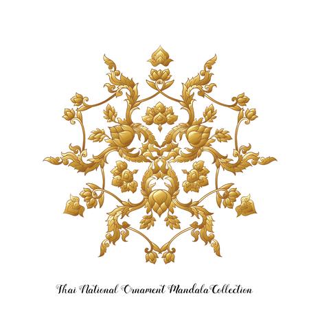 Gold mandala of traditional Thai ornament. Stock vector illustration. Иллюстрация