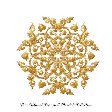 Gold mandala of traditional Thai ornament. Stock vector illustration. 向量圖像