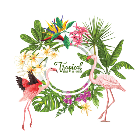 Template of poster, banner, postcard with tropical flowers and plants and flamingo bird on white background. Stock vector illustration.