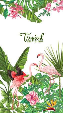 Template of poster, banner, postcard with tropical flowers and plants and flamingo bird on white background. Stock vector illustration. Foto de archivo - 108021033