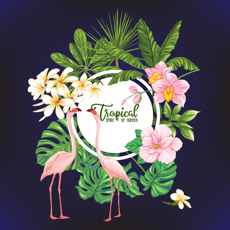 Template of poster, banner, postcard with tropical flowers and plants and flamingo bird on black background. Stock vector illustration. Stock Illustratie