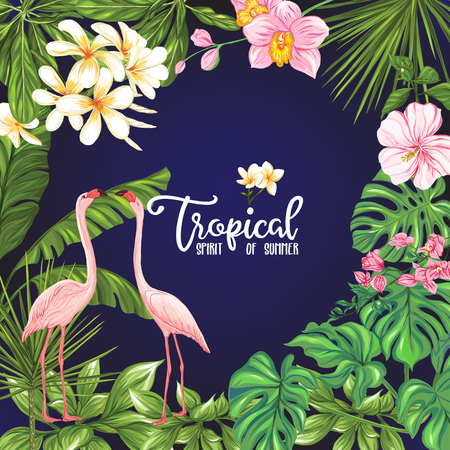 Template of poster, banner, postcard with tropical flowers and plants and flamingo bird on black background. Stock vector illustration. Illustration